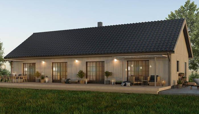 VillaVarm - stomresta trähus från norr