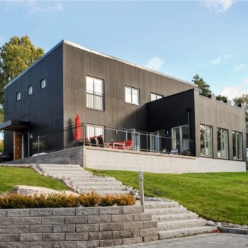 svart hus fasad