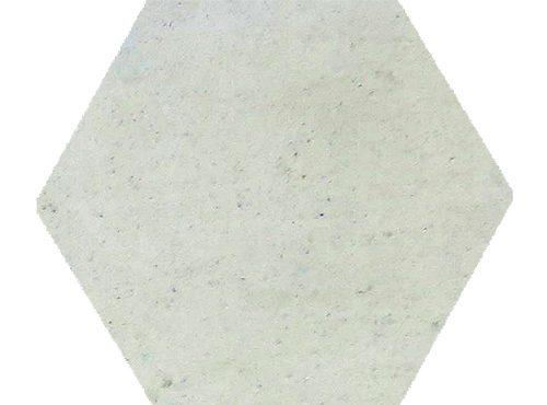 Hexagon vit enfärgad platta